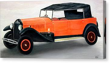 Red Vintage Car Canvas Print by Ronald Haber