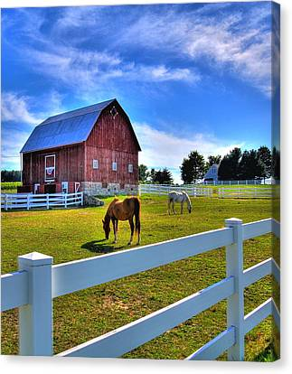 Canvas Print featuring the photograph Red White And Barn by Coby Cooper