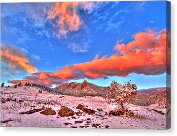 Red White And Blue Winter Canvas Print