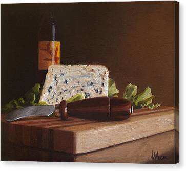 Red Wine And Bleu Cheese Canvas Print by Joe Winkler