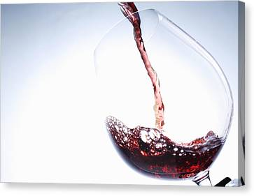 Pouring Wine Canvas Print - Red Wine Pouring Into Glass by Brett Stevens
