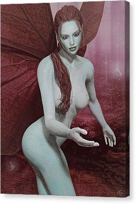Canvas Print featuring the painting Red Winged Fae by Maynard Ellis