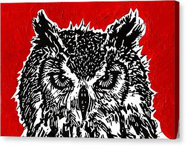 Redder Hotter Eagle Owl Canvas Print by Julia Forsyth