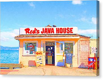 Reds Java House At San Francisco Embarcadero Canvas Print by Wingsdomain Art and Photography