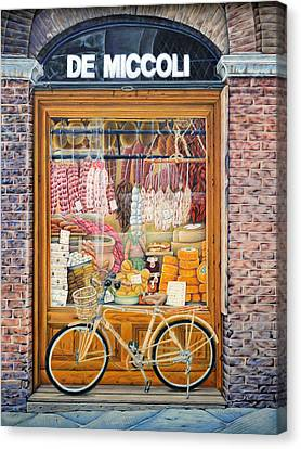 Reflecting On Lunch In Sienna Canvas Print by Gloria Callahan