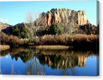 Canvas Print featuring the photograph Reflection At Ghost Ranch by Laurel Talabere