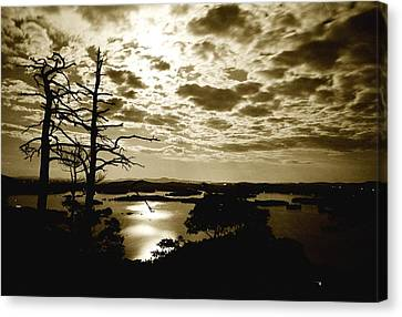 Reflection Of Moonlight On Squam Canvas Print
