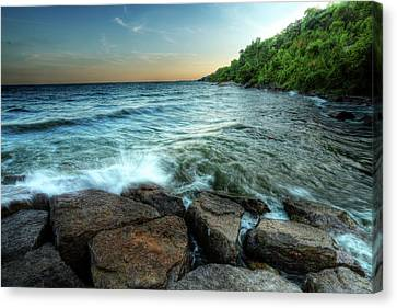 Canvas Print featuring the photograph Reflection On The Rocks by Anthony Rego