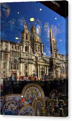 Canvas Print featuring the photograph Reflection Piazza Navona by Caroline Stella
