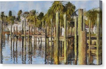 Fort Pierce Canvas Print - Reflections At Fort Pierce by Trish Tritz
