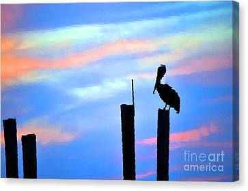 Canvas Print featuring the photograph Reflections In Water With Pelican by Dan Friend