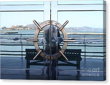 Reflections Of Alcatraz Island At The Maritime Museum In San Francisco California . 7d14080 Canvas Print by Wingsdomain Art and Photography