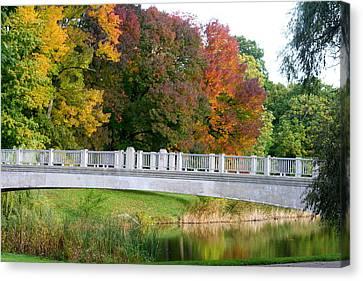 Lincoln Park Lagoon Canvas Print - Reflections Of Fall by Kay Novy