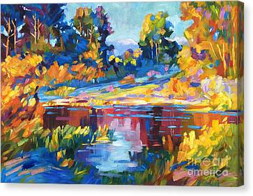 Reflections On A Quiet Lake Canvas Print by David Lloyd Glover