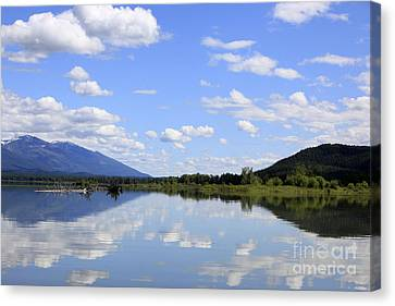 Canvas Print featuring the photograph Reflections On Swan Lake by Nina Prommer
