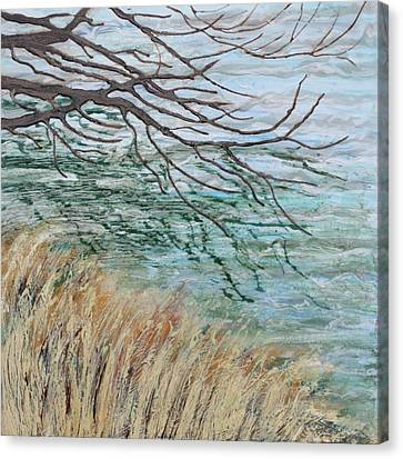 Canvas Print featuring the painting Reflections On Water by Jan Swaren