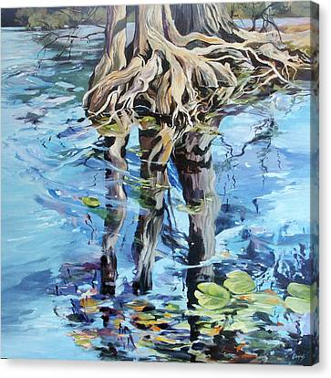 Canvas Print featuring the painting Reflections by Rae Andrews