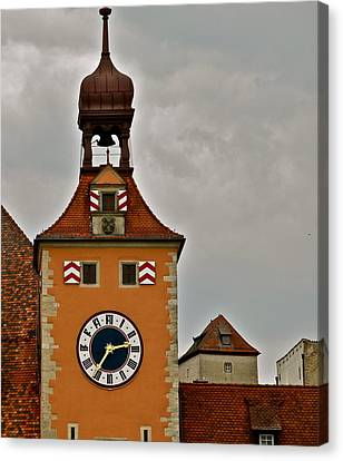 Canvas Print featuring the photograph Regensburg Clock Tower by Kirsten Giving