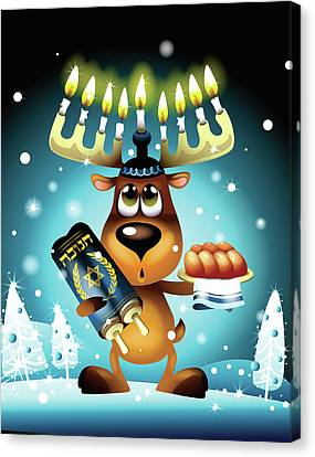 Reindeer With Menorah For Antlers Canvas Print by New Vision Technologies Inc