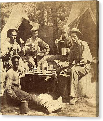 Relaxed Scene Of Soldiers From The Army Canvas Print by Everett