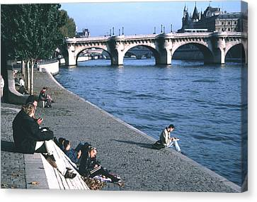 Relaxing Along The Seine Canvas Print