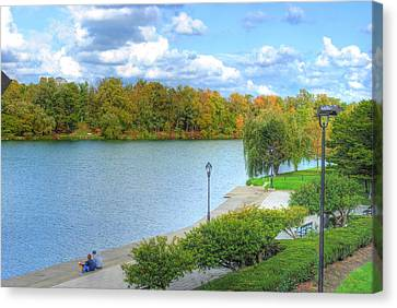 Canvas Print featuring the photograph Relaxing At Hoyt Lake by Michael Frank Jr