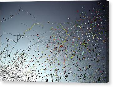Release Of Confetti Under Blue Sky Canvas Print by Jeren (France)