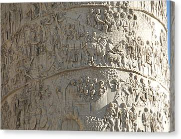 Hand Crafted Canvas Print - Relief. Detail View Of The Trajan Column. Rome by Bernard Jaubert