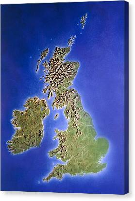 Relief Map Of The United Kingdom And Eire Canvas Print by Julian Baum.