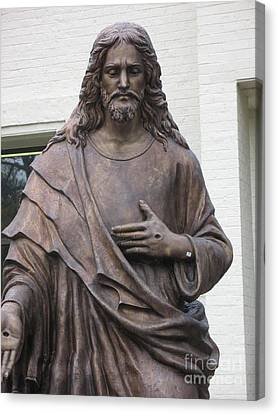 Religious Jesus Statue - Christian Art Canvas Print by Kathy Fornal