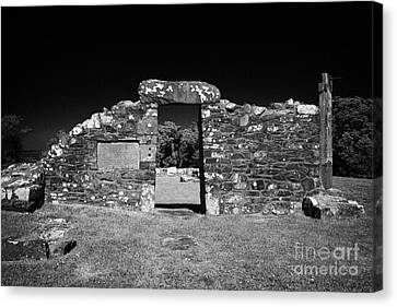 Remains Of The 6th Century Church On The Monastic Site At Nendrum On Mahee Island County Down Canvas Print by Joe Fox