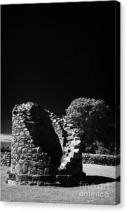 Remains Of The 6th Century Round Tower At The Monastic Site At Nendrum On Mahee Island County Down Canvas Print by Joe Fox