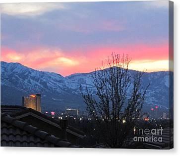 Reno At Night Canvas Print by Phyllis Kaltenbach