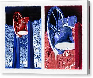Replica Of Liberty Bell - Americana Rwb Diptych - Inverted Canvas Print by Steve Ohlsen