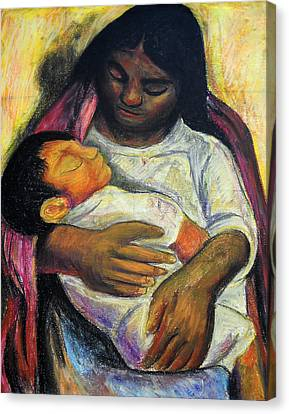 Reproduction Of Diego Rivera's- Mother And Child Canvas Print by Duwayne Washington