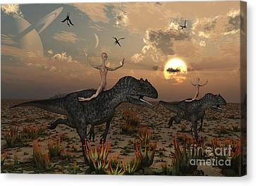 Reptoids Race Allosaurus Dinosaurs Canvas Print by Mark Stevenson