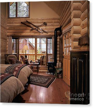 Resort Log Cabin Interior Canvas Print by Robert Pisano