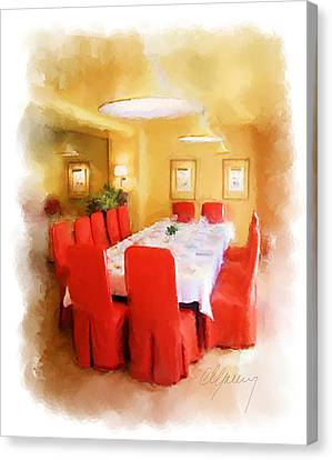 Restaurant Interior Menu Cover  Canvas Print by Michael Greenaway
