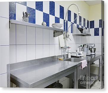 Restaurant Kitchen Sink And Counters Canvas Print by Magomed Magomedagaev