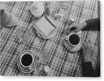 Restaurant Still Life Of Coffee Canvas Print by Everett