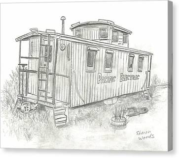Retired Caboose Canvas Print by Sharon  Woods