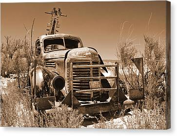Retired Sepia Canvas Print by Bob and Nancy Kendrick