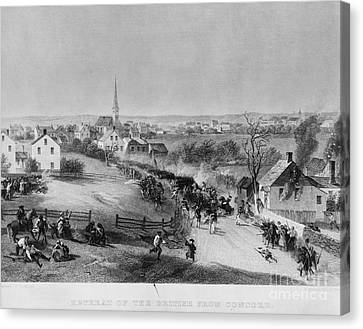Concord Massachusetts Canvas Print - Retreat Of British From Concord by Photo Researchers