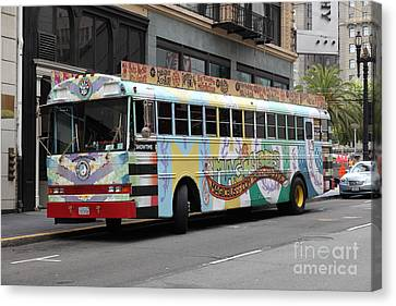 Retro 60s San Francisco Haight Ashbury Magic Bus - 5d17923 Canvas Print by Wingsdomain Art and Photography