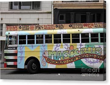 Retro 60s San Francisco Haight Ashbury Magic Bus - 5d17924 Canvas Print by Wingsdomain Art and Photography