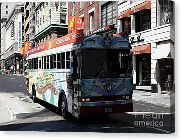 Retro 60s San Francisco Haight Ashbury Magic Bus - 5d18009 Canvas Print by Wingsdomain Art and Photography