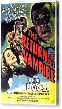 Return Of The Vampire, Nina Foch, Matt Canvas Print by Everett