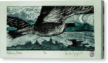 Linoleum Cut Canvas Print - Returning Home by Andrew Jagniecki