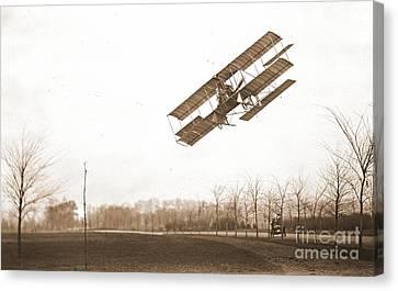 Rex Smith Biplane 1912 Sepia Canvas Print by Padre Art
