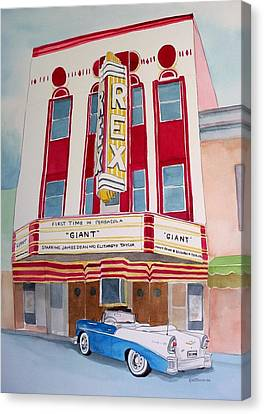 Canvas Print featuring the painting Rex Theater by Richard Willows